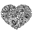 beautiful silhouette of the heart of lace flowers vector image