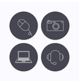 Photo camera headphones and notebook laptop vector image