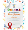 Diploma template with colorful light bulbs vector image