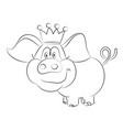 cartoon image of crowned pig vector image