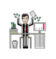 european businessman throwing money in the air vector image