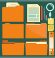 folders with pen pencil and note reminder sticker vector image