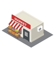 isometric market stalls with vegetables vector image