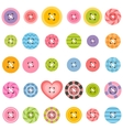 set of textured sewing buttons vector image