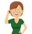 young woman talking on the phone vector image