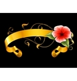 Flower and ribbon on black vector image