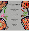 grilled sausages menu vector image