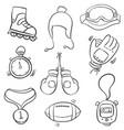 art sport equipment doodle style vector image