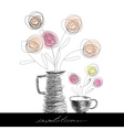tea cup and teapot with flowers vector image vector image