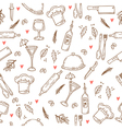 Hand drawn food seamless pattern with hearts vector image