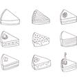 Set of nine fancy cakes vector image vector image