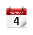 February 4 flat daily calendar icon Date vector image