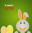Easter card with rabbit and colored eggs on vector image