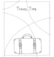 Black and white hand drawn suitcase banner vector image