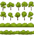 Set of funny cartoon trees and green bushes vector image vector image