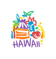 exotic summer vacation logo of hawaii beach vector image