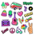 Fashion Hippie Badges Patches Stickers vector image