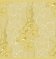flower seamless pattern from yellow gladiolus vector image