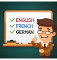 Foreign Languages Teacher in front of the vector image