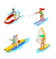 isometric people on water activity woman surfer vector image
