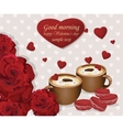 Two coffee cups and red velvet macaroons on hearts vector image