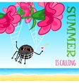 Summer is calling - funny cartoon card vector image