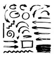 set of different hand drawn grunge brush strokes vector image