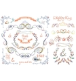 Cute wedding template setFloral Decor elements vector image