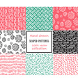 Set of seamless stroke patterns Hand-drawn vector image vector image