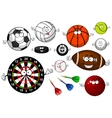 Cartoon sport game items and equipment vector image vector image