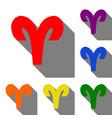 aries sign set of red orange vector image