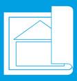 building plan icon white vector image