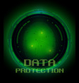 fingerprint and data protection on digital screen vector image