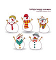 isolated winter happy snowmen figures objects vector image