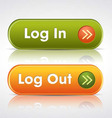 login and log out buttons vector image
