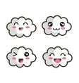 set cartoon face cloud design vector image