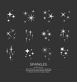 set sparkles star elements on the dark vector image