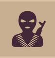 terrorist in balaclava mask icon vector image