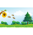 A beehive above the hill with three bees vector image vector image