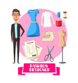 fashion designer profession accessories vector image
