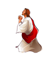 Side view of Jesus Christ praying vector image