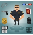 Policeman character with icons vector image vector image