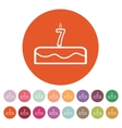 Cake with candles in the form of number 7 icon vector image