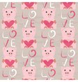 Pig with heart seamless pattern vector image