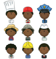 African-American professional people avatars vector image