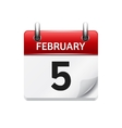 February 5 flat daily calendar icon Date vector image