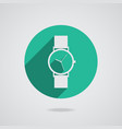 Flat long shadow icon wristwatch vector image