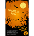 Halloween party flyer template - orange and black vector image