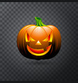 halloween pumpkin with candle inside happy face vector image