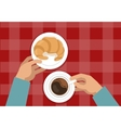 Hands Holding Croissant And Coffee vector image